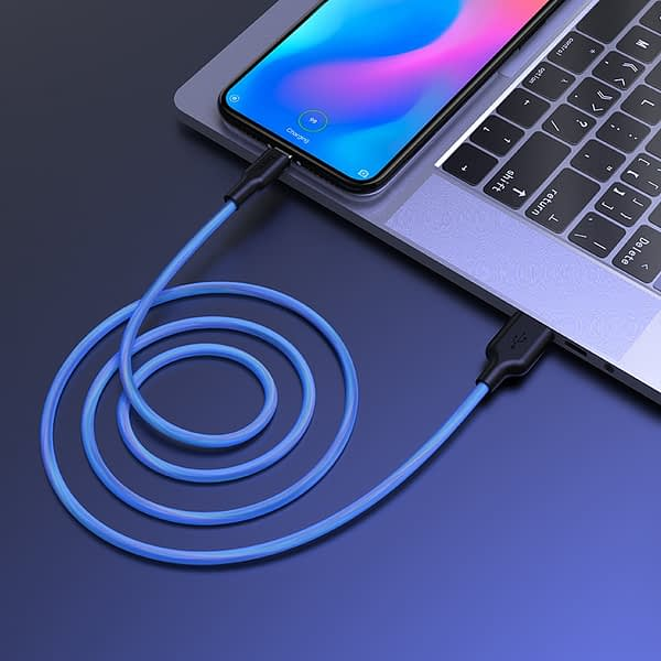 hoco x21 plus fluorescent silicone charging data cable type c wire0